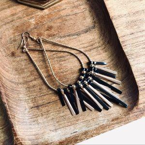 Jewelry - Gold and Black Dangle Teardrop Earrings